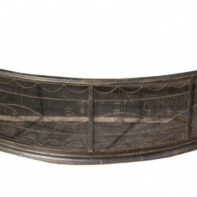 An antique curved wirework fire guard / fender C. 1800