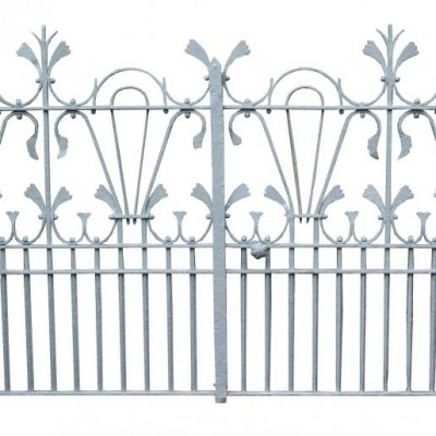 An ornate and unusual pair of late 19th C. wrought iron gates