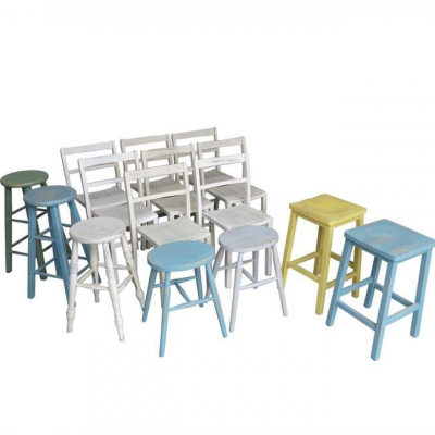 Reclaimed Hand Painted Stacking Chairs and Stools