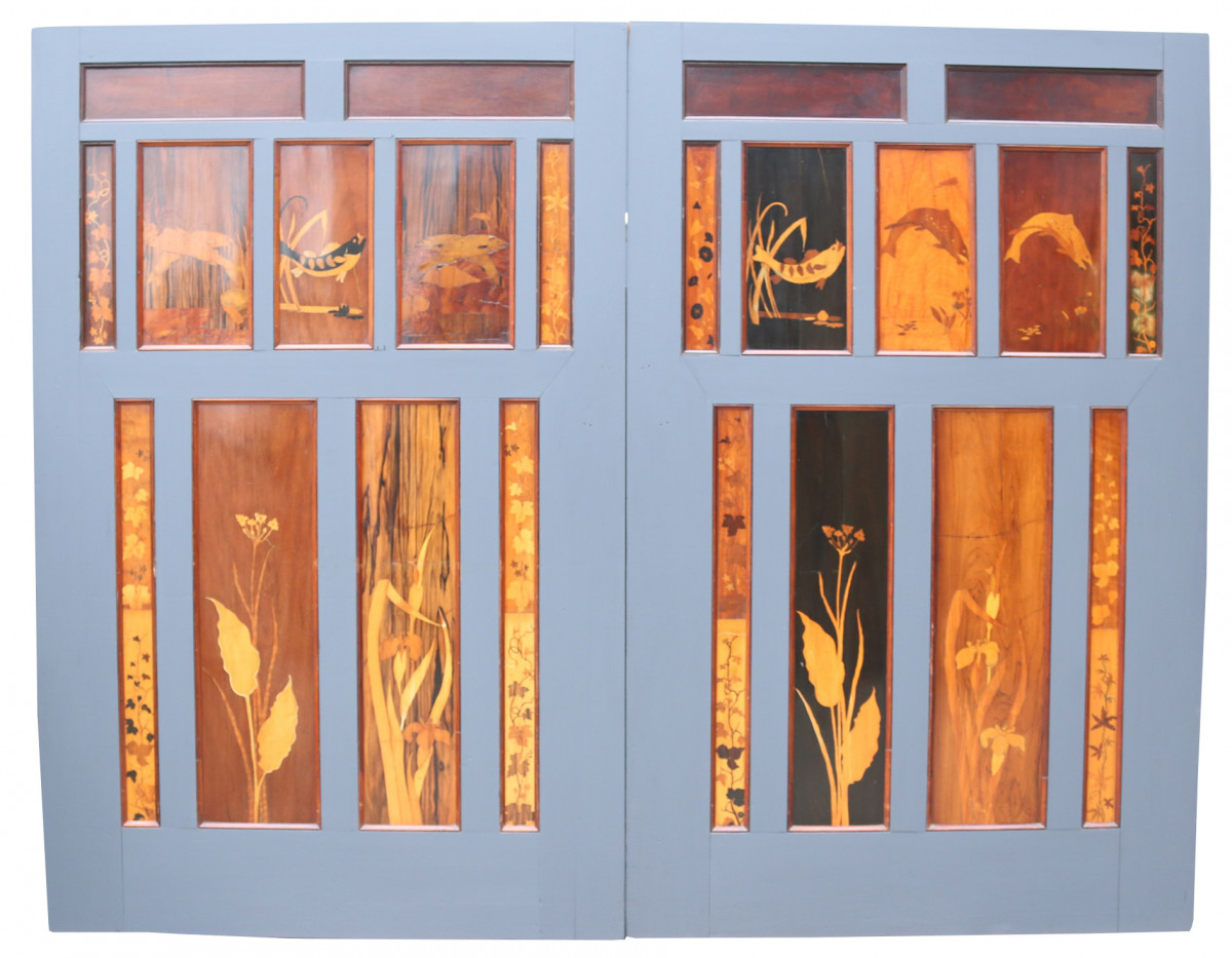 Pair Of Reclaimed 1930's Marquetry Inlaid Sliding Doors