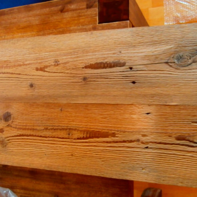 Antique pine planks with finish surface