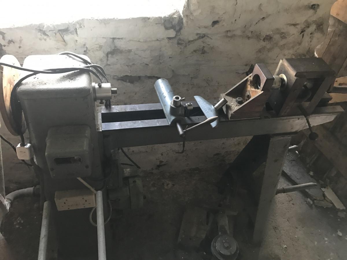 Vintage wood turning lathe