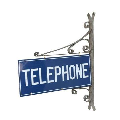Enamel Wall Mounted Double Sided Telephone Sign