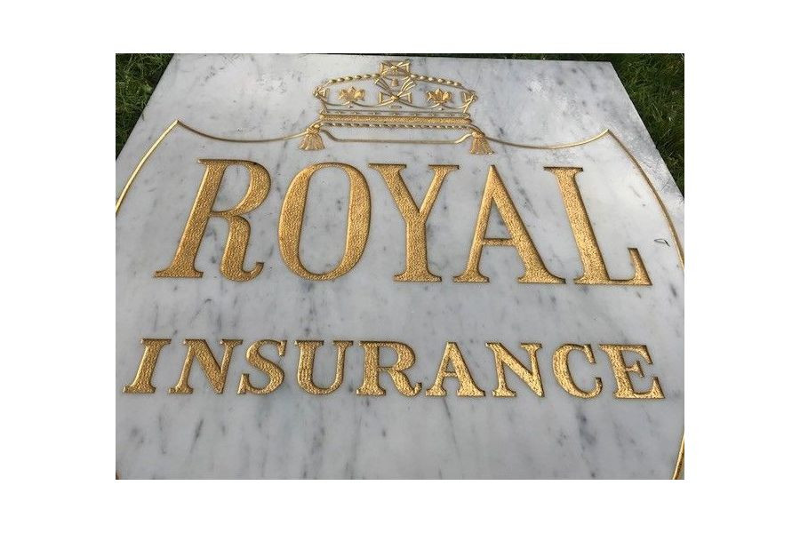 Reclaimed Large Architectural Marble & Gilt Inscribed Royal Insurance Sign