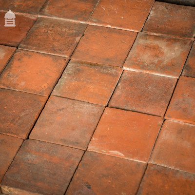 """Batch of 140 Reclaimed Red 7x7"""" Inch Quarry Tiles 4.5 Square Metres"""