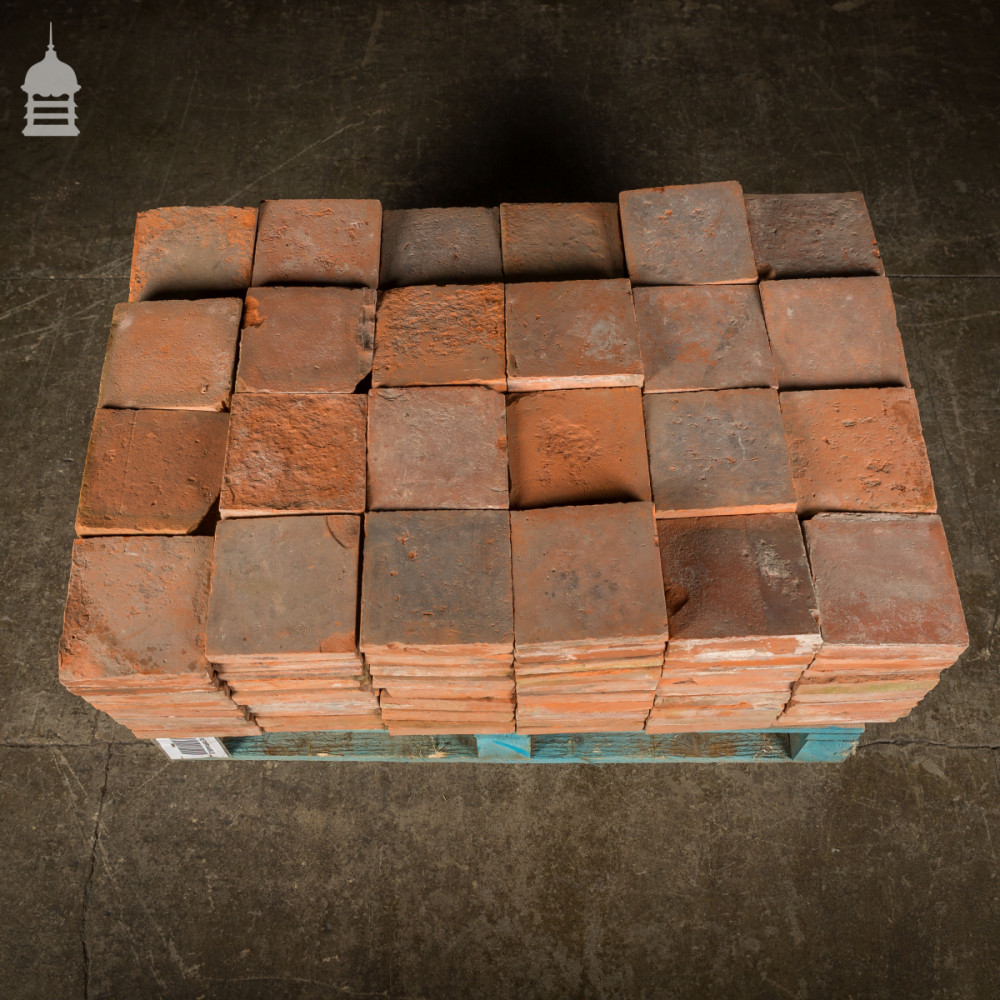 "Batch of 215 Reclaimed 6¾"" Worn Red Quarry Tiles"