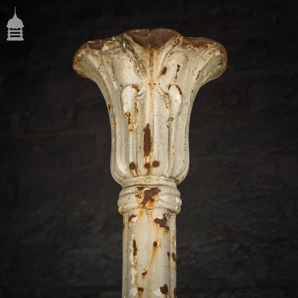Pair of Elegant 19th C Cast Iron Pillars Columns with Acanthus Leaf Detail