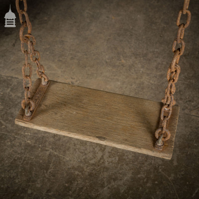 19th C Swing with Oak Seat and Iron Chain