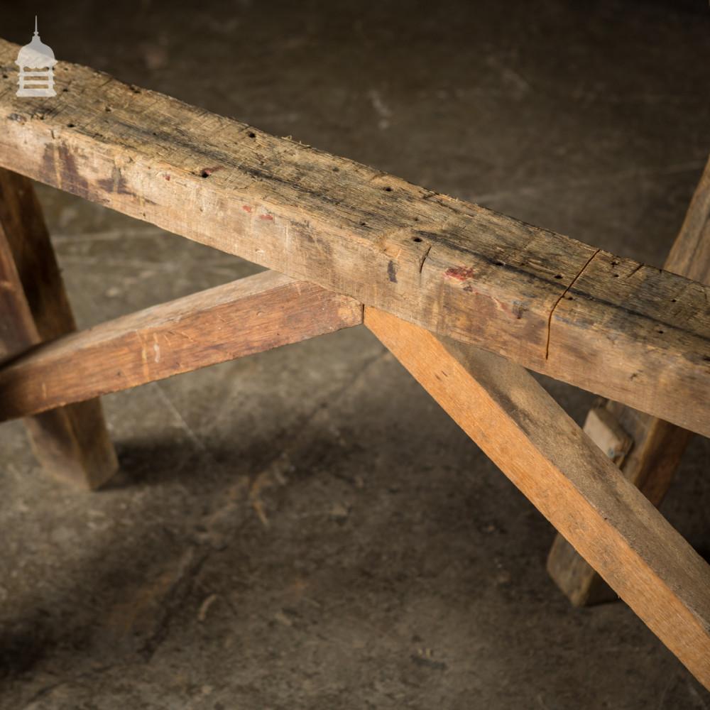 Pair of Vintage Industrial Hardwood Work Saw Horses