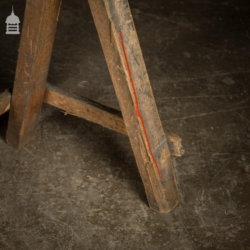 Pair Vintage Hardwood Workshop Work Horses