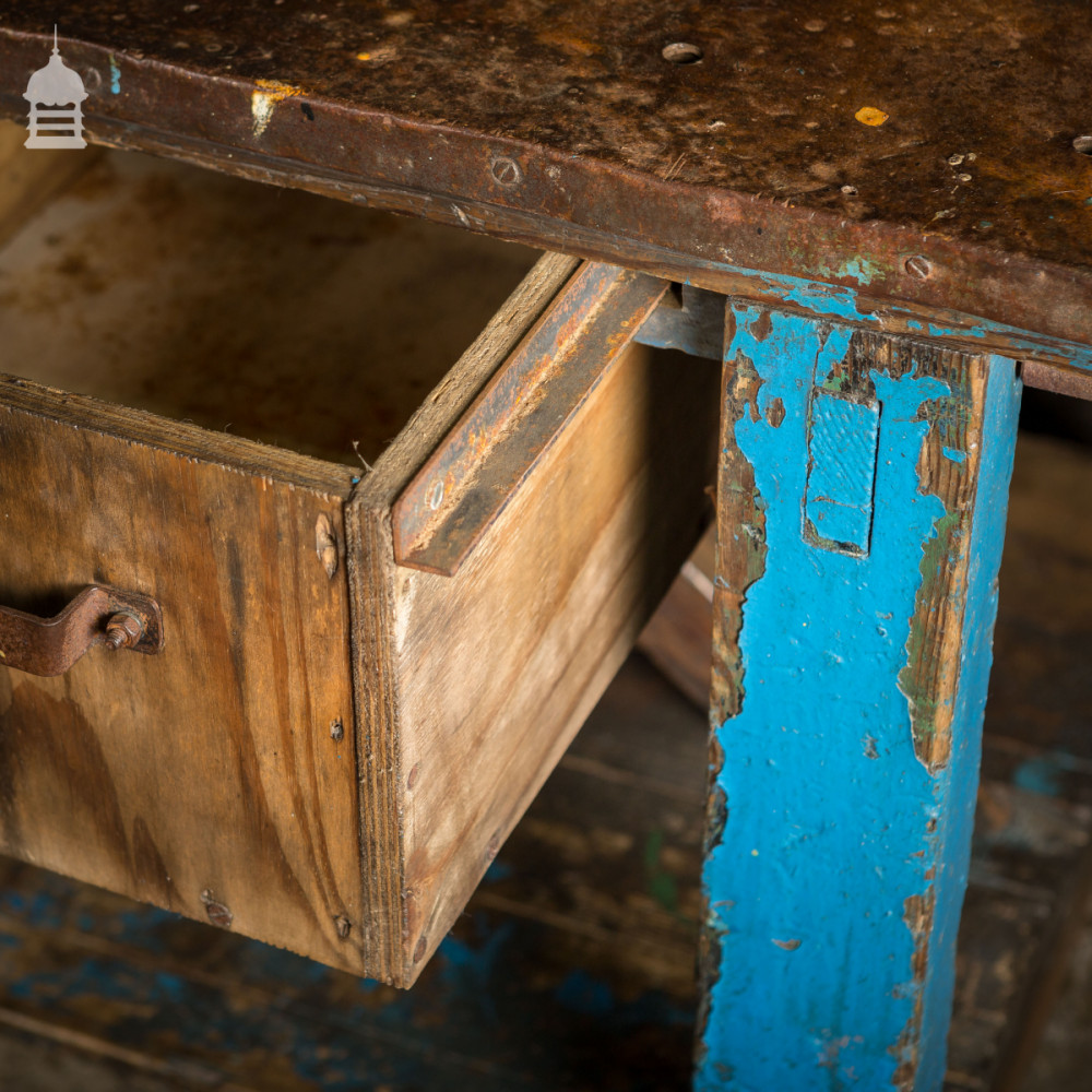 Industrial Blue Workshop Table Workbench with Steel Wrapped Top and Vice