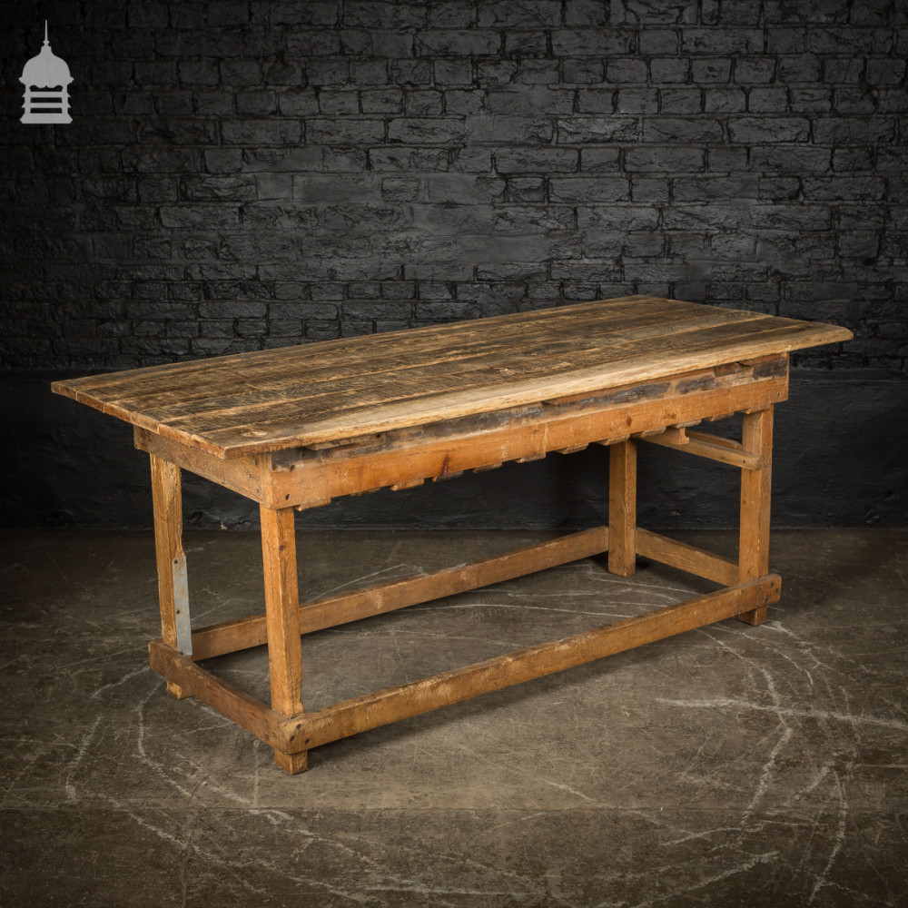 Rustic Vintage Oak Elm and Pitch Pine Workbench Table