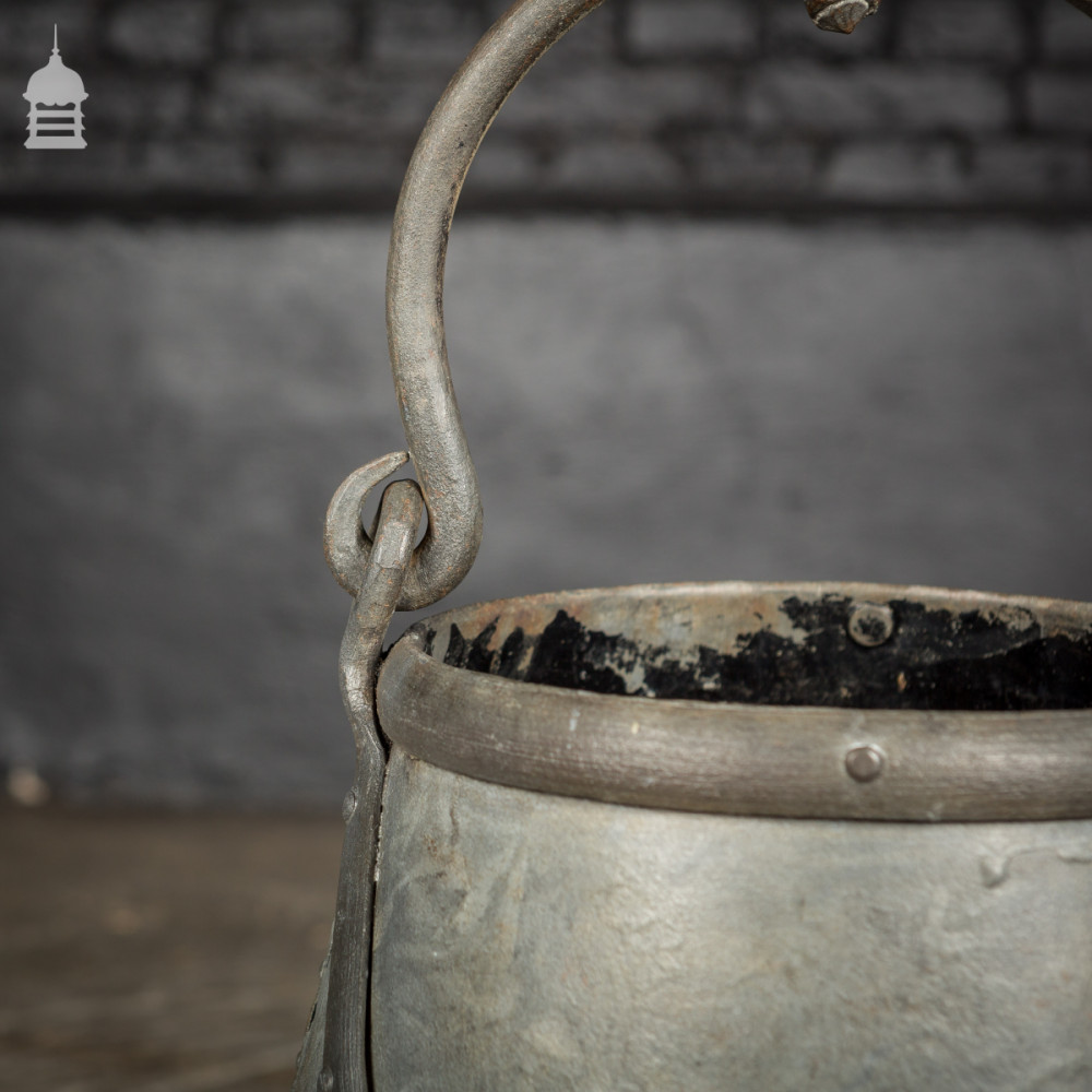 Galvanised Riveted Steel Well Bucket with Wrought Iron Handle