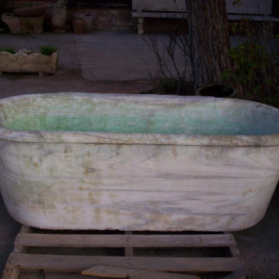 Large and heavy antique Carrara marble tub