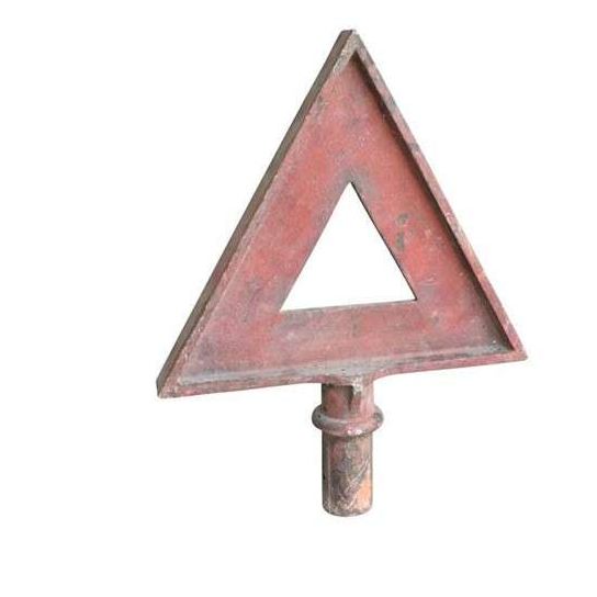 Original Cast Iron Red Triangle Warning Sign