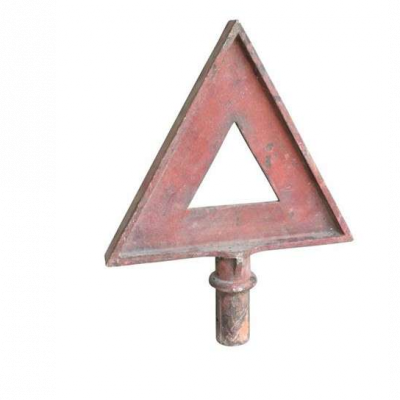 Original Antique Cast Iron Red Triangle Warning Sign