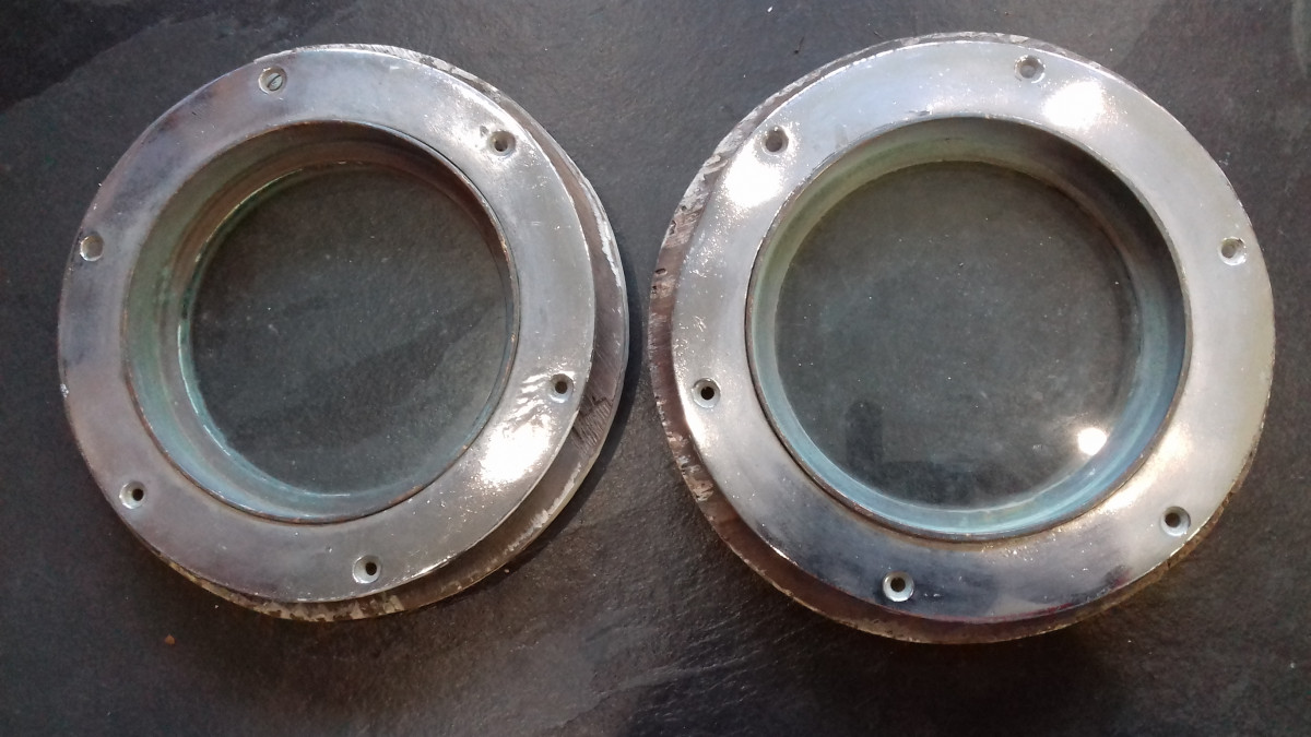 Reclaimed brass portholes