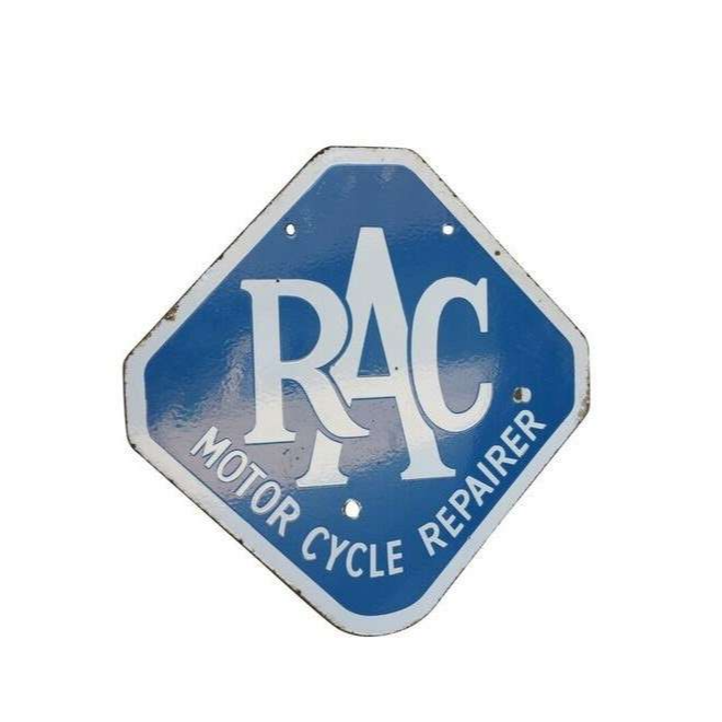 Original Enamel Double Sided RAC Motor Cycle Repairer Sign