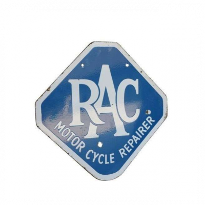 Original Antique Enamel Double Sided RAC Motor Cycle Repairer Sign