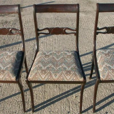 8 late 19th century sabre legged dining chairs