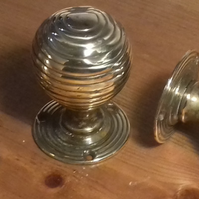 Victorian brass beehive door knobs.