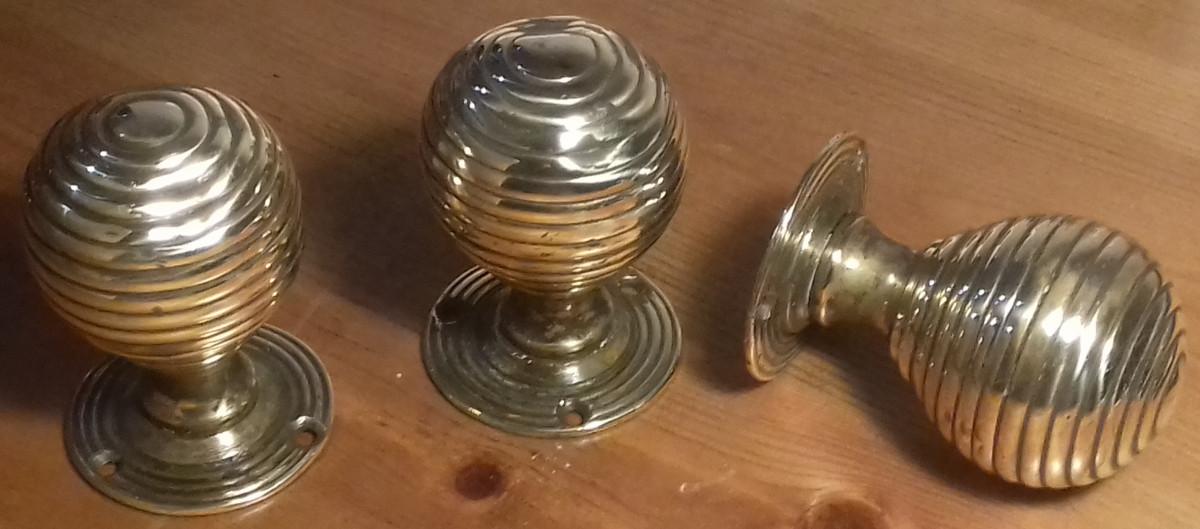 Victorian brass beehive door knobs.