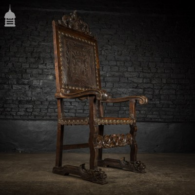 19th C Spanish Carved Hardwood Throne Chair with Leather Panels