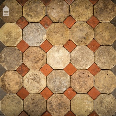 Batch of 200 Reclaimed Octagonal Buff and Red Pamments Floor Tiles 11 SqMs