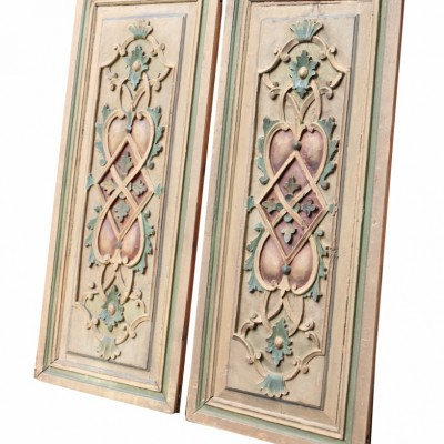 Pair Of 19th Century Painted Pine Panels
