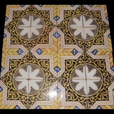 Rare handpainted ceramic glazed tiles - 115pcs.