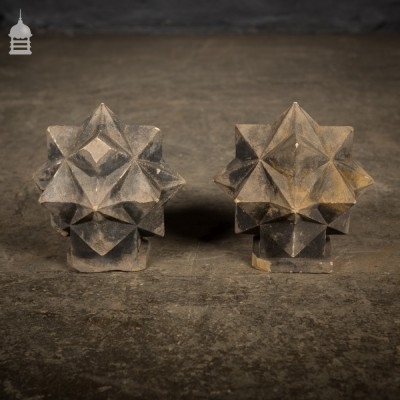 Pair of Carved Sandstone Geometric Star Design Pier Caps