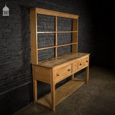 18th C Pine Farmhouse Pot Dresser Cupboard with Drawers