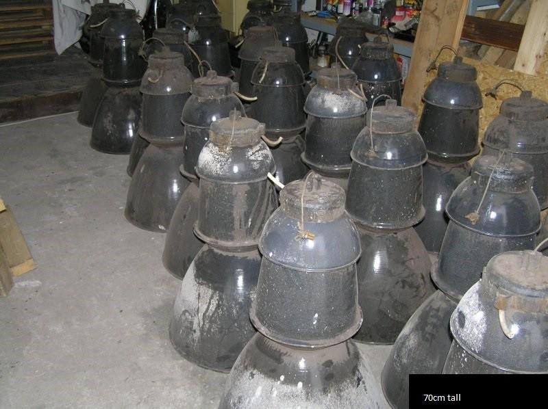 Antique enamel factory lights - 30ocs.