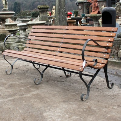 Antique wrought iron 3 seat garden bench