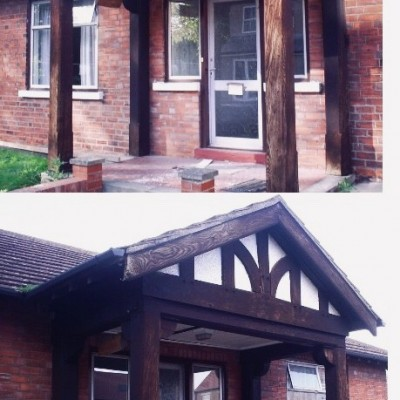 Oak beamed porch with mock Tudor gable frontage