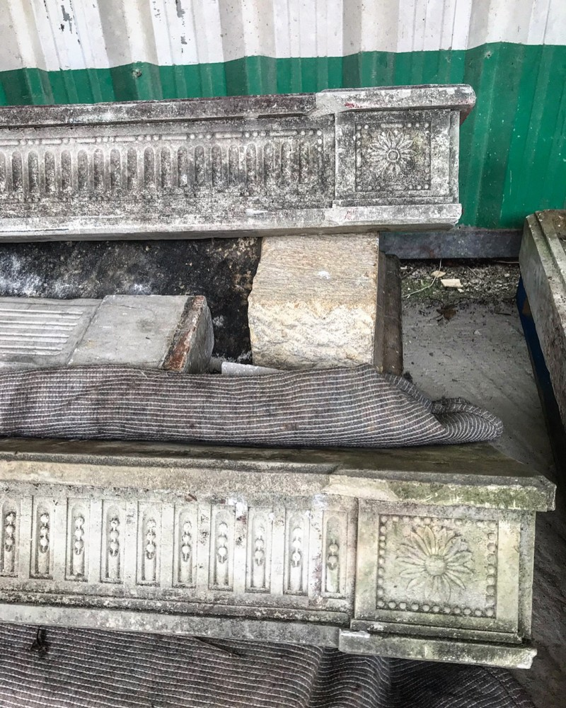 Four Antique French Stone Fireplaces