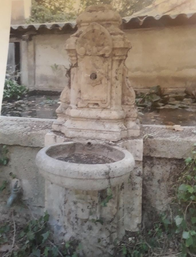 Antique Carved Stone Wall Fountain