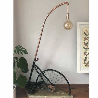 Upcycled bicycle floor lamp