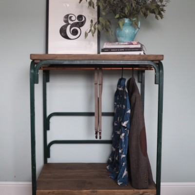 Vintage green Industrial trolley clothes rail and display space
