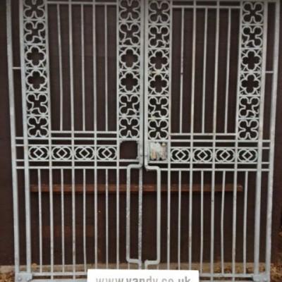 Antique Quatrefoil Heavy Wrought Iron Gates