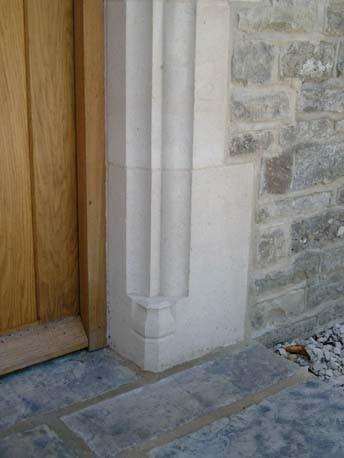 Bath Stone Hand Made Door Surround C/W Used Oak Door