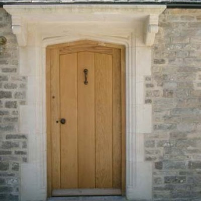 Bath Stone Hand Made Door Surround C/W Used Oak Door