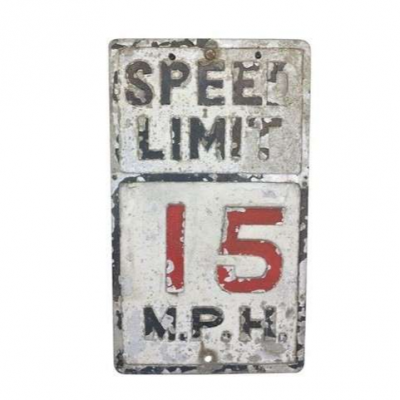 Original 15 MPH Cast Zinc Road Warning Sign