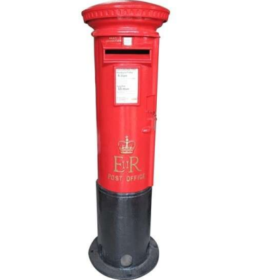 Original Red Cast Iron Elizabeth II Post Office Pillar Box