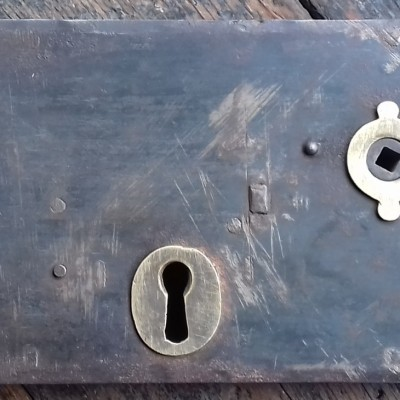 Large Victorian steel & brass rim lock