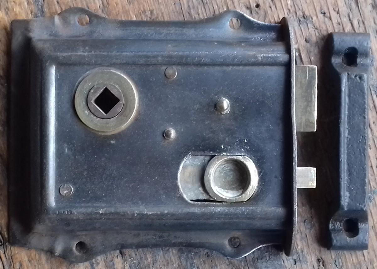 Victorian steel & brass rim lock
