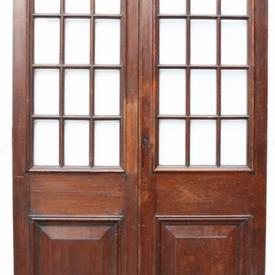 Pair Of Antique English Glazed Oak Double Doors