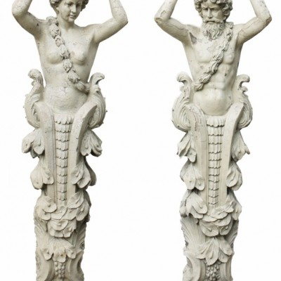 Pair Of Herms Depicting A Caryatid And Atlas