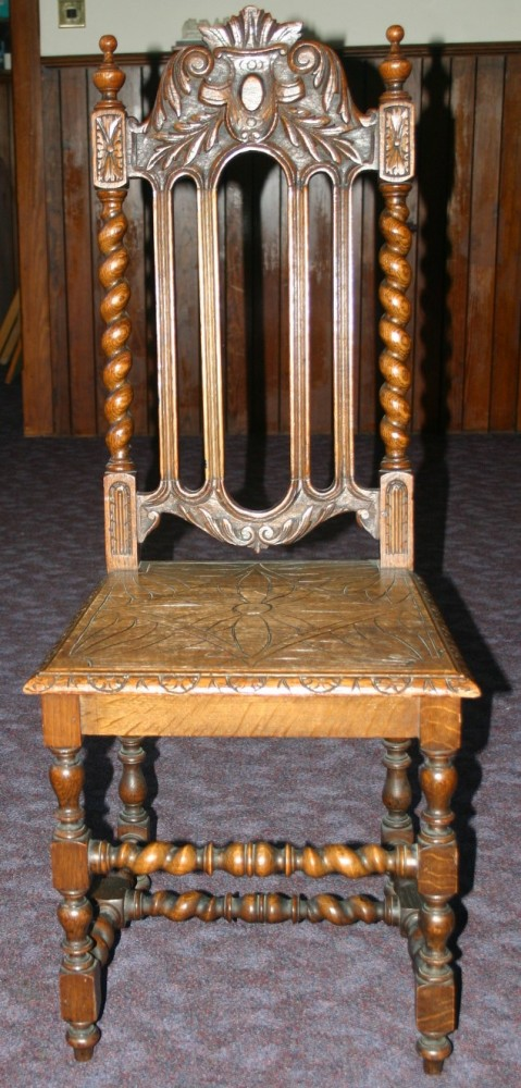 Two Victorian church chairs circa 1880