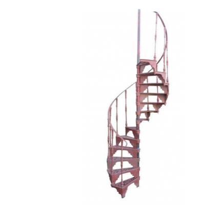 Antique Red Oxide Primed Cast Iron Spiral Staircase